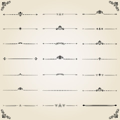 Vintage set of decorative elements. Horizontal separators in the frame. Collection of different ornaments. Classic patterns. Set of vintage patterns