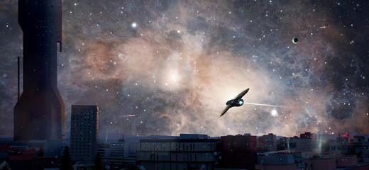 Sci-fi city with planet, nebula and spaceships, Elements furnished by NASA. 3D rendering