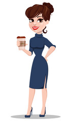 Young cartoon businesswoman. Beautiful lady holding cup of coffee.