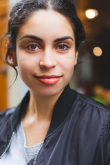 Candid Portrait of a Smiling Mixed Race Girl