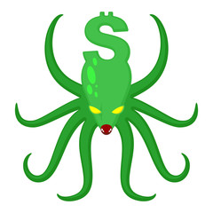 Monster Dollar isolated. Money Octopus. Vector Illustration