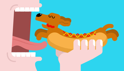 Eat Hot dog dachshund. Open mouth and teeth. Pet Animal Hotdog. Vector illustration