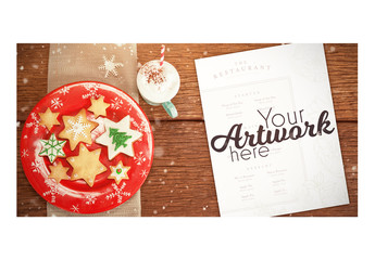Christmas Menu on Table Mockup 2