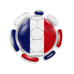 Soccer ball with the national flag of France. Modern emblem of soccer team. Realistic vector illustration.