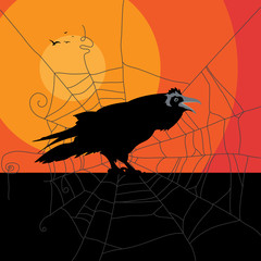 Black raven against red sun. Space for text. Halloween card or invitation concept.