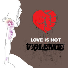 Abused young woman with bruises on arm and shoulder. Red heart, symbol of love formed as fist. Stop violence against women concept.