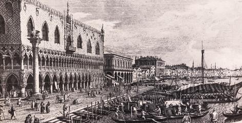 Venice, Italy: Panorama with the Riva degli Schiavoni. 18th century print.