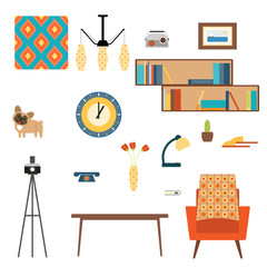 Living room interior elements collection with book shelves, pattern, vase, flowers, lamp, dog, clock, telephone, picture, table, armchair and camera on a tripod in the style of 70's.