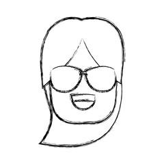 Girl with sunglasses icon vector illustration graphic design