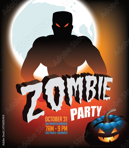 Zombie Party Halloween Invitation Background EPS 10 Vector
