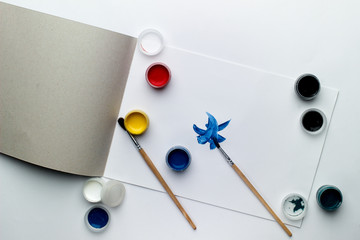 School and office supplies on a white background. creation