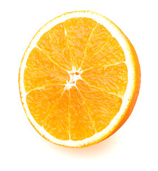 Slice of fresh orange isolated on white background with clipping path