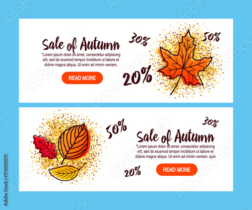 autumn sale flyer template with lettering fotolia com の ストック