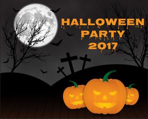 Halloween pumpkins on blue Moon background,illustration EPS10