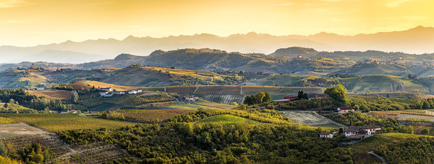 wide panorama of Langhe region in northern italy, on autumn,unes Fototapete
