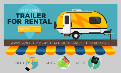 Web banner with Camping trailer for sale or rental. Caravan mobil home. Buying or rent camping trailer online. Vector illustration