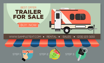 Web Banner With Camping Trailer For Sale Or Rental. Caravan Mobil Home.  Buying Or