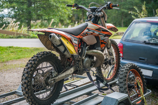 Picture of sport bike on the car trailer