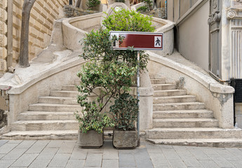 Camondo Steps, a famous pedestrian stairway leading to Galata Tower, built around 1870, İstanbul, Turkey