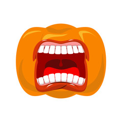 Pumpkin screams  open mouth for Halloween. pumpkin shout. Vector illustration