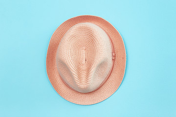 Apricot hat on trendy color background