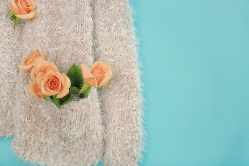Wall Mural - Warm sweater decorated with apricot roses against trendy color background, closeup