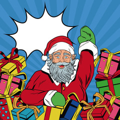 Santa claus with gifts Christmas pop art vector illustration graphic