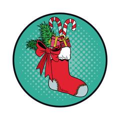 Santa sock with candies Christmas pop art vector illustration graphic