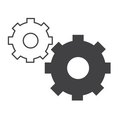 Isolated pair of gear icons on a white background, Vector illustration