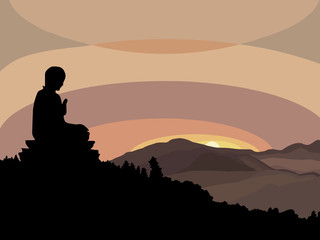 Young man meditating in lotus pose at sunset sitting on mountain peak. Healthy lifestyle and mindful meditation concept illustration vector.