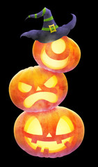 stack pumpkin faces with witch hat illustration for halloween graphic resources