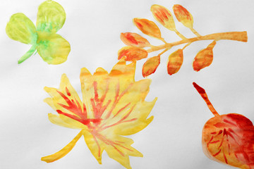 Child's painting of autumn leaves