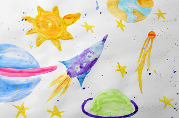 Child's painting of rocket in space