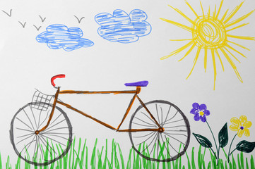 Child's drawing of bicycle