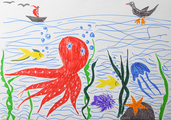 Child's drawing of underwater world