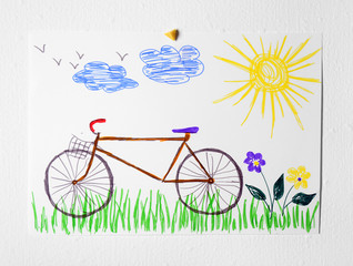 Child's drawing of bicycle on white background