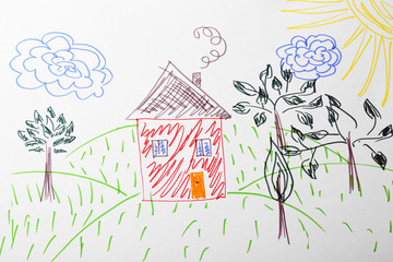 Child's drawing of house and trees