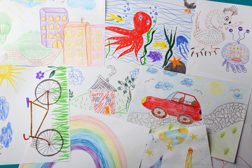 Colorful children's drawings