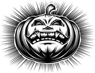 Evil pumpkin with open mouth with tooth and sinister eyes. A cartoon icon of main symbol of Halloween holiday. Vector illustration in a hand drawing retro graphic style for stamping print or tattoo.