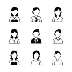 People avatar icons icon vector illustration graphic design