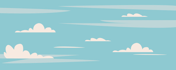 Beautiful blue sky with cute clouds background illustration.Clean sky on mid day.