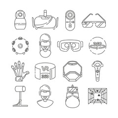 Linear symbols of technology. Virtual reality and vr glasses. 3d rotation