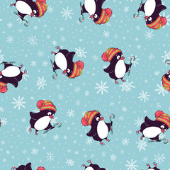 Merry Christmas seamless pattern with penguins,in vector.