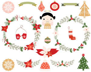 Set of Christmas and New Year floral wreaths, design elements, holiday symbols - angel, mittens, hat, laurels, trees, ornaments, banners, Poinsettia
