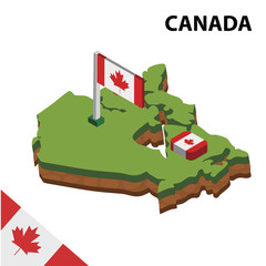 Isometric map and flag of CANADA. 3D isometric Vector Illustration