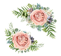 Vector floral bouquet design: garden pink peach lavender Rose wax flower, Eucalyptus branch, green fern palm leaves, succulent berry. Wedding vector invite illustration Watercolor designer element set