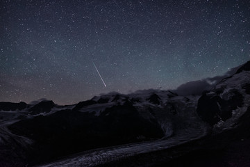 Nightscape from Chamanna Boval with Perseids meteor
