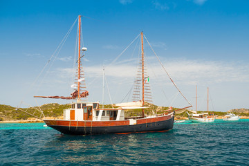 Vintage sailing ship. In the sea of Sardinia