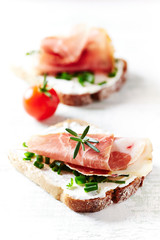 Sandwiches with Cheese and Ham