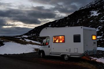 Campervan parked in iceland